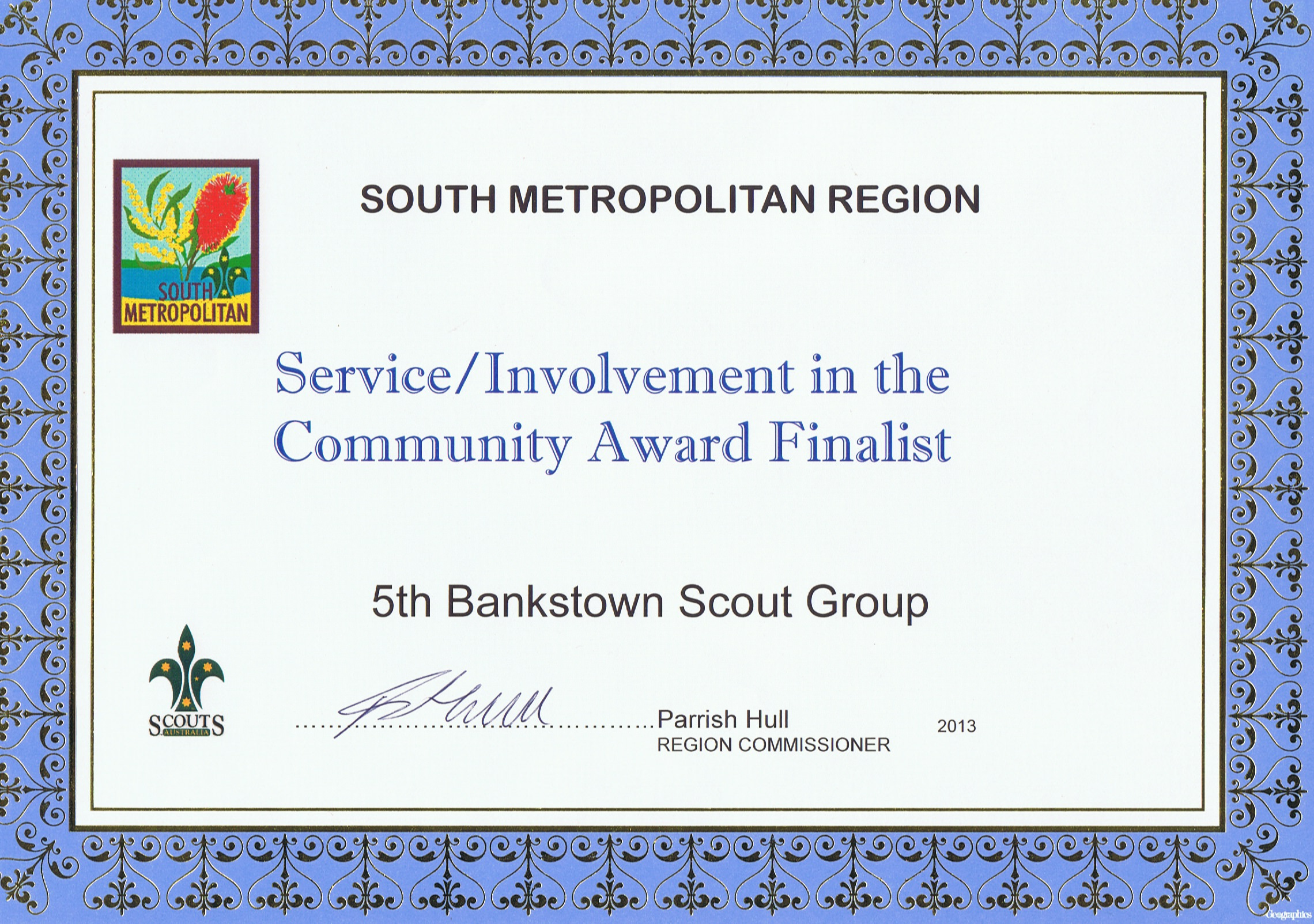 South Metropolitan Region Community Award - 2013