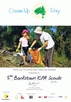 Clean Up Australia Day Certificate of Particiapation - 2014