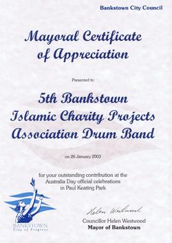 Mayoral Certificate of Appreciation - 2003