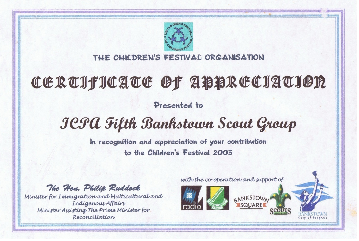 Certificate of Appreciation Children Festival Organisation - 2003
