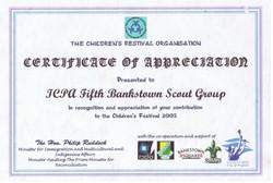 Certificate of Appreciation Children Festival Organisation - 2003