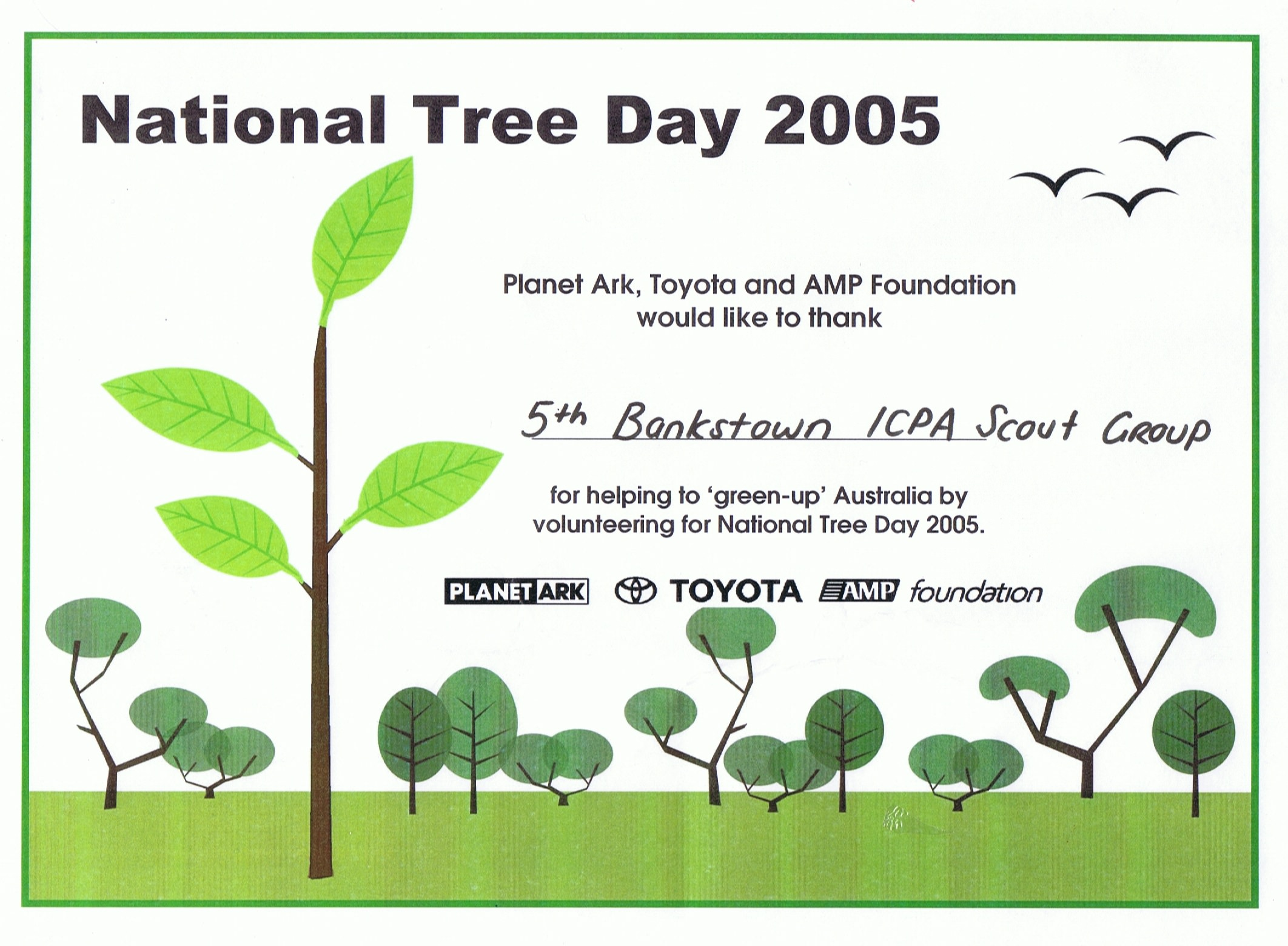 National Tree Day Certificate of Participation 2005