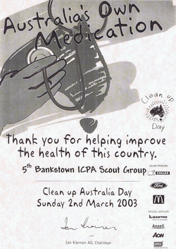 Clean Up Australia Day Certificate of Participation - 2003