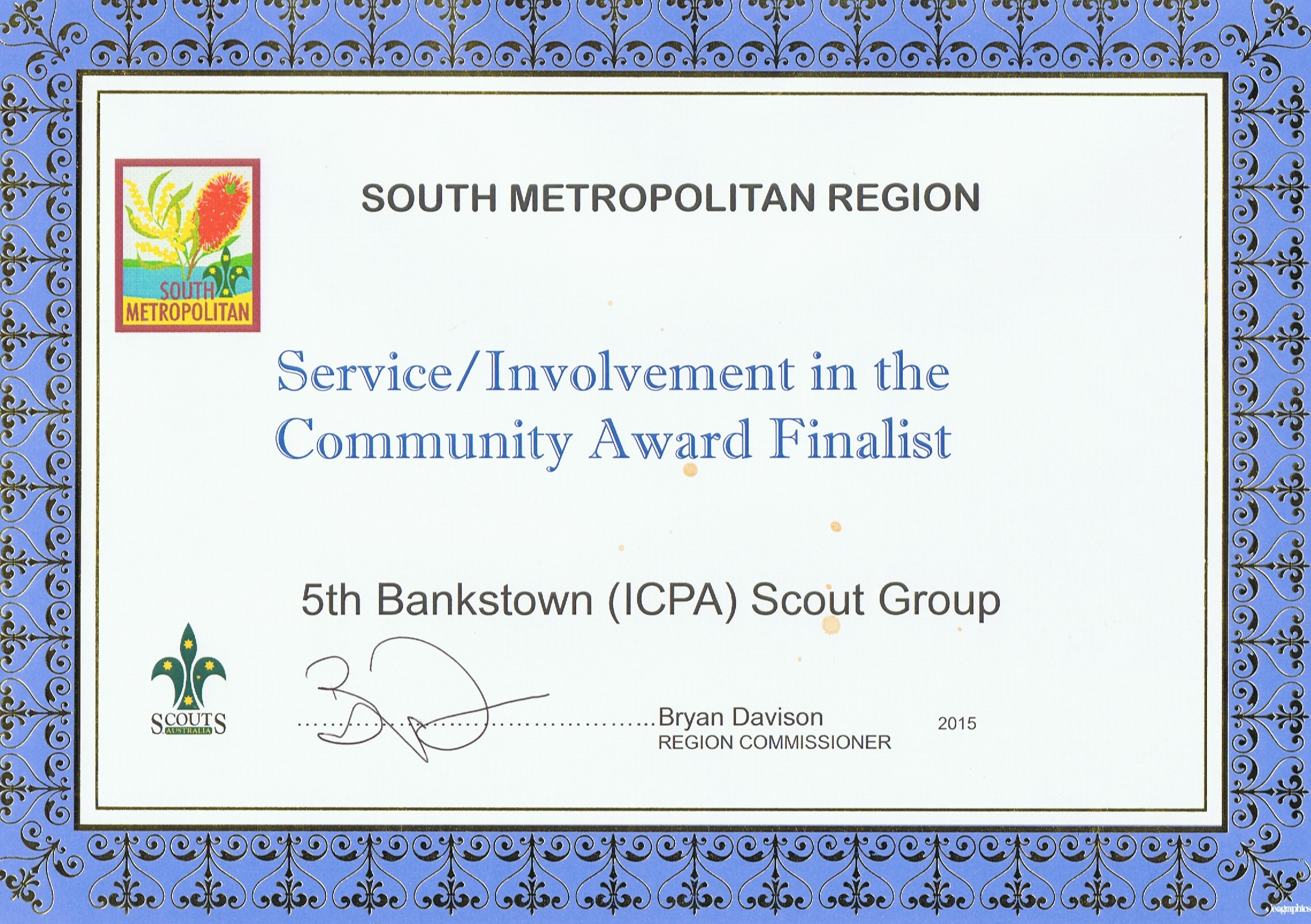 South Metropolitan Region Community Award - 2015