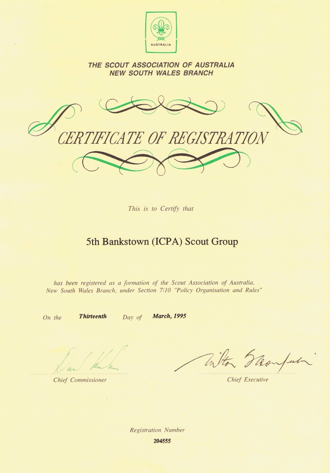 Certificate of Registration 5th Bankstown Scouts Group - 1995