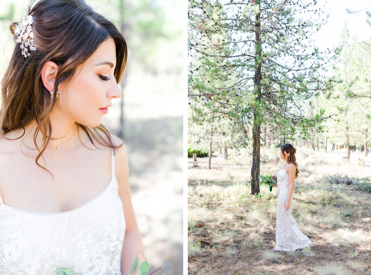 Bride in fitted dress during Sunriver wedding