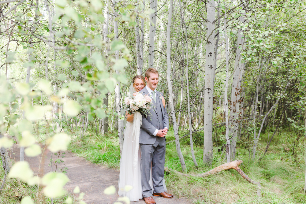 Wedding first look in Shevlin Park Bend Oregon