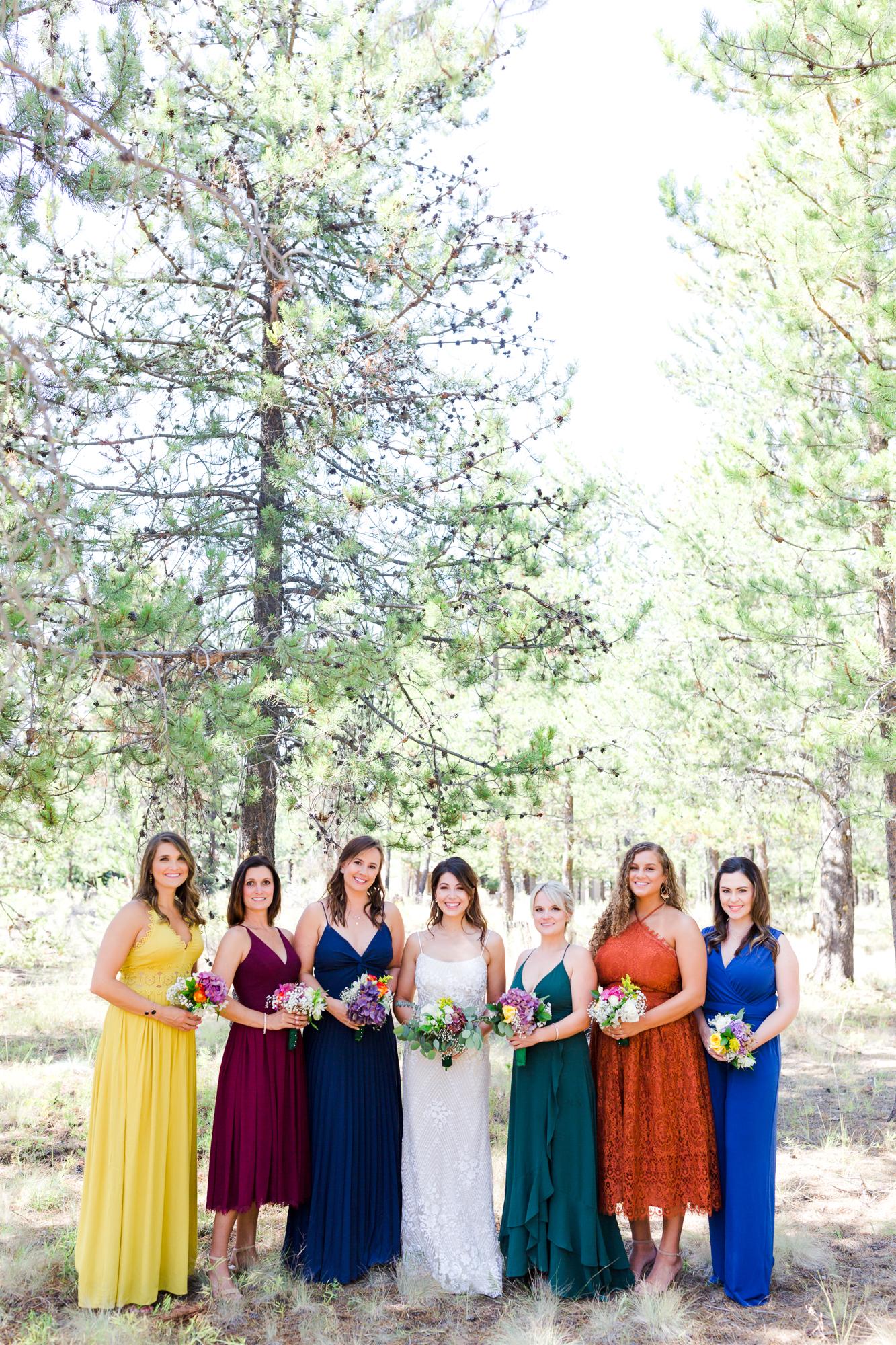Bridal party at Sunriver oregon wedding