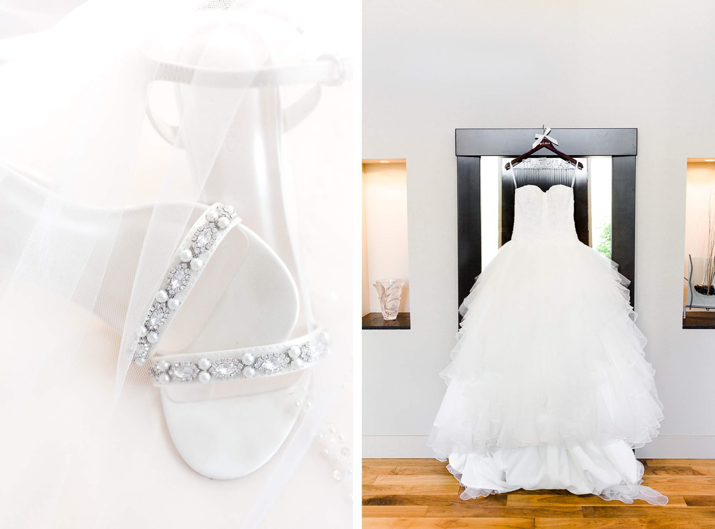 Wedding day shoe details and hanging dress on mirror