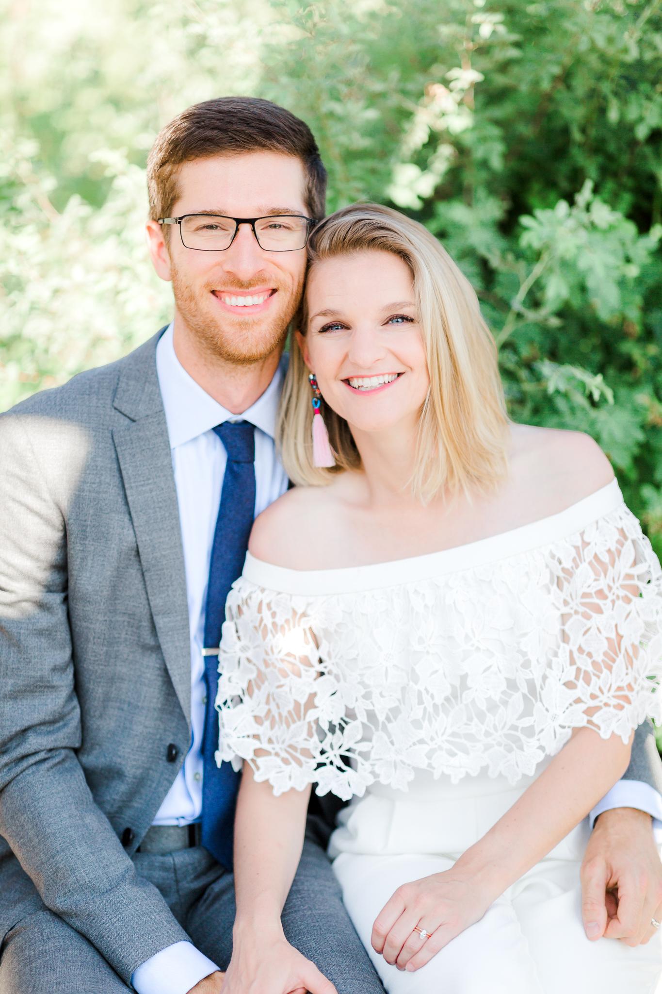 Bride and Groom at Miller's Landing in Bend Oregon