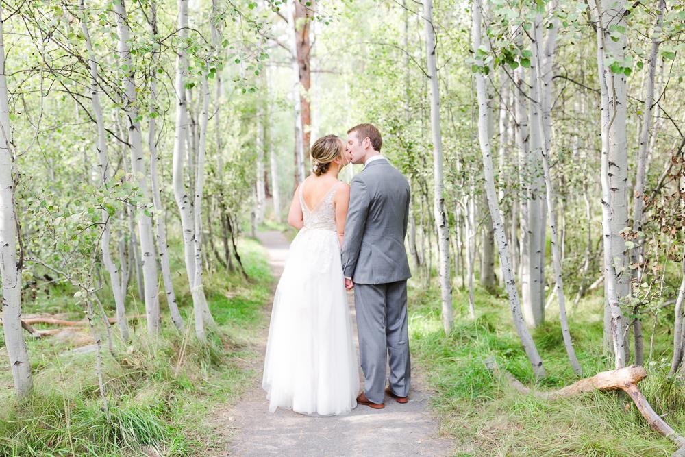 Bend Oregon bride and groom wedding portrait in Shevlin Park