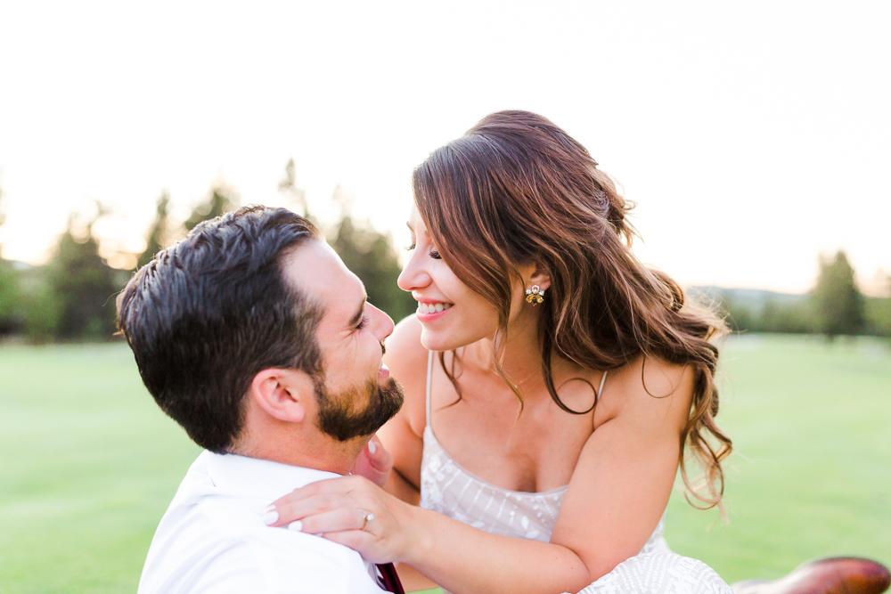Bride and Groom sunset photos during Sunriver Oregon wedding