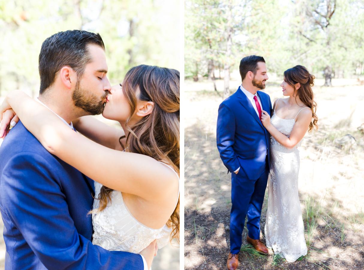 Bride and groom portrait during wedding in Sunriver Oregon