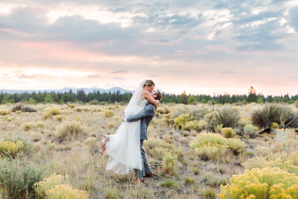 Bride and groom portrait at sunset in Shevlin Park, Bend Oregon