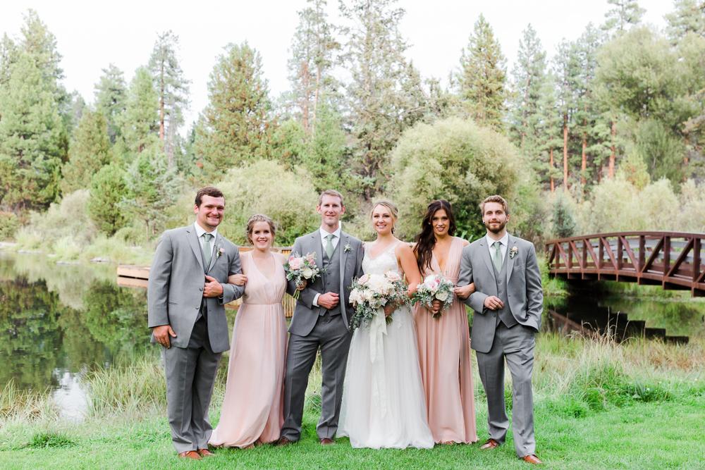 Wedding party portrait in Shevlin Park Bend Oregon at Aspen Hall