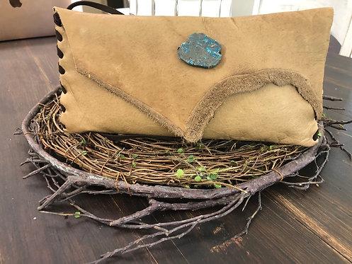 Light tan leather Crossbody or clutch Handbag