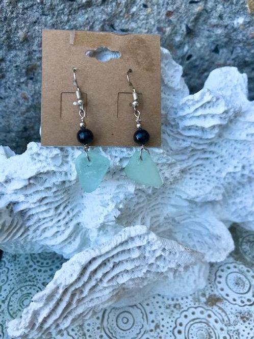 Sea Foam and black Pearl earrings