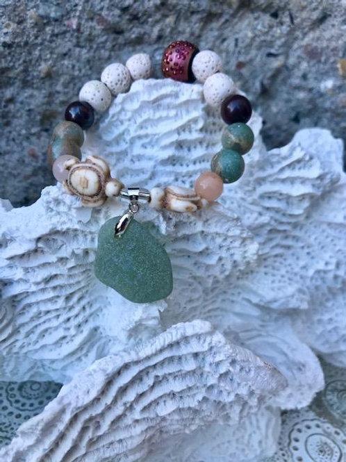 Sea Foam lava bead aromatherapy bracelet