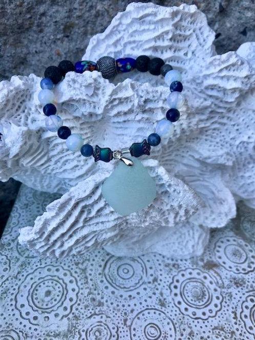 Blue owl lava bead aromatherapy bracelet
