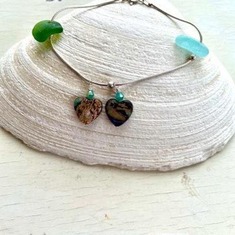 Two Hearts Sea Glass & Abalone Sterling Bracelet