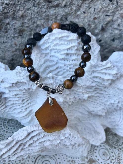 Brown Turtle lava bead aromatherapy bracelet