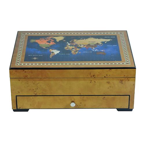 World Map Golden Oak Watch and Accessories Box