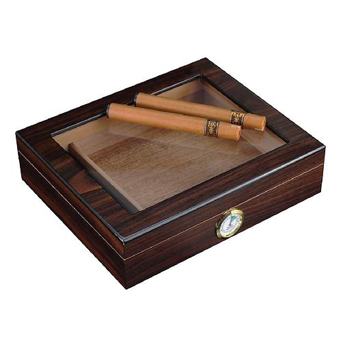 12-20 CT Walnut Cigar Box with Glass Top