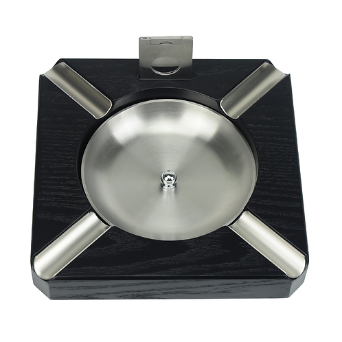 Black Wooden Cigar Ashtray and cutter