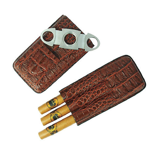 Travel Cigar Case with cutter - Brown Crocodile PU Leather