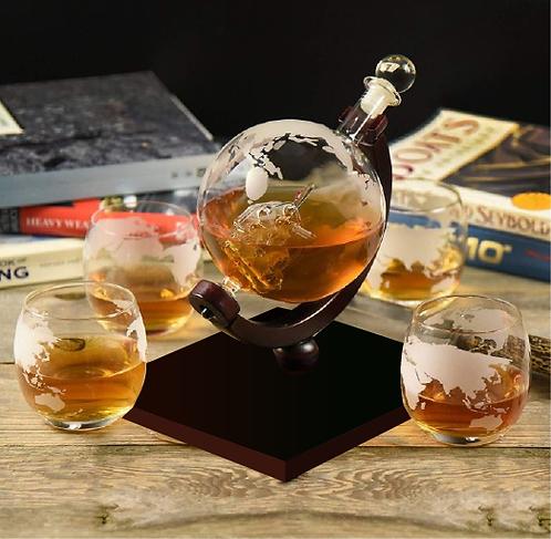 Whiskey Decanter Globe Bottle and 4 Glasses Set