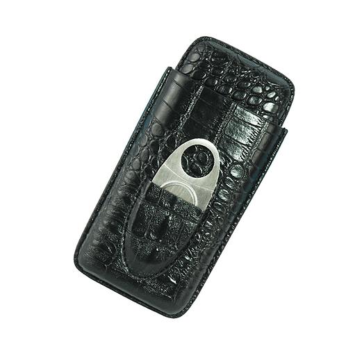 Travel Cigar Case with cutter - Black Crocodile PU Leather