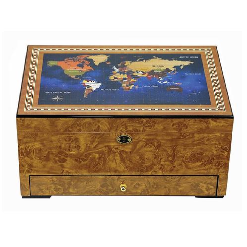 World Map Golden Oak and Spanish Cedar Humidor