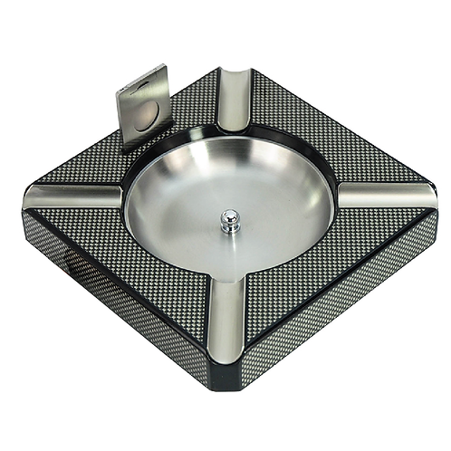High Gloss Carbon Fiber Wooden Ash Tray with cutter