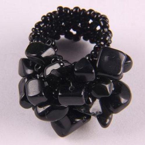Gemstone Chip-Hand Beaded rings