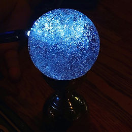 2017 Glacial Ice Sphere with blue light.
