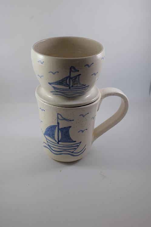 Sailing white Mug with dripper
