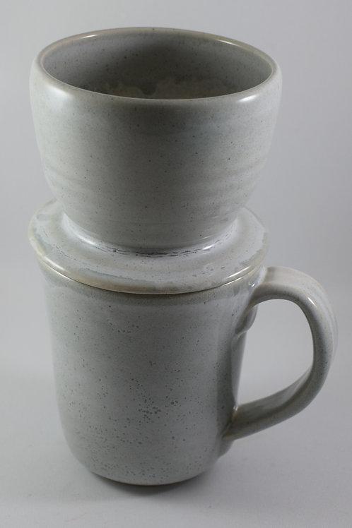 Grey & white Mug with dripper