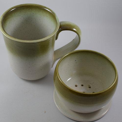 Green & white Mug with Coffee Drip