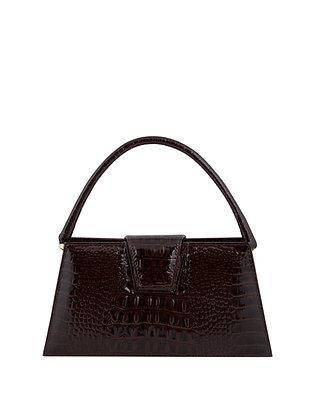 IVA Midth Brown Croco Embossed Leather