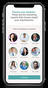 MARQETR | Choose Marketer App Screen
