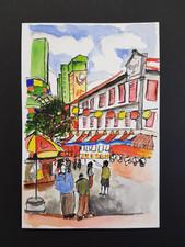Watercolor location drawing at Chinatown
