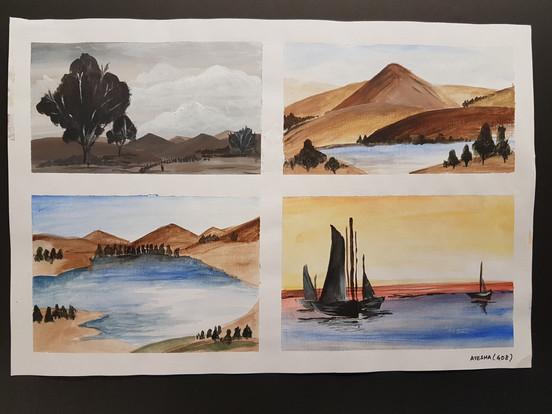 Landscape Thumbnails using Acrylics