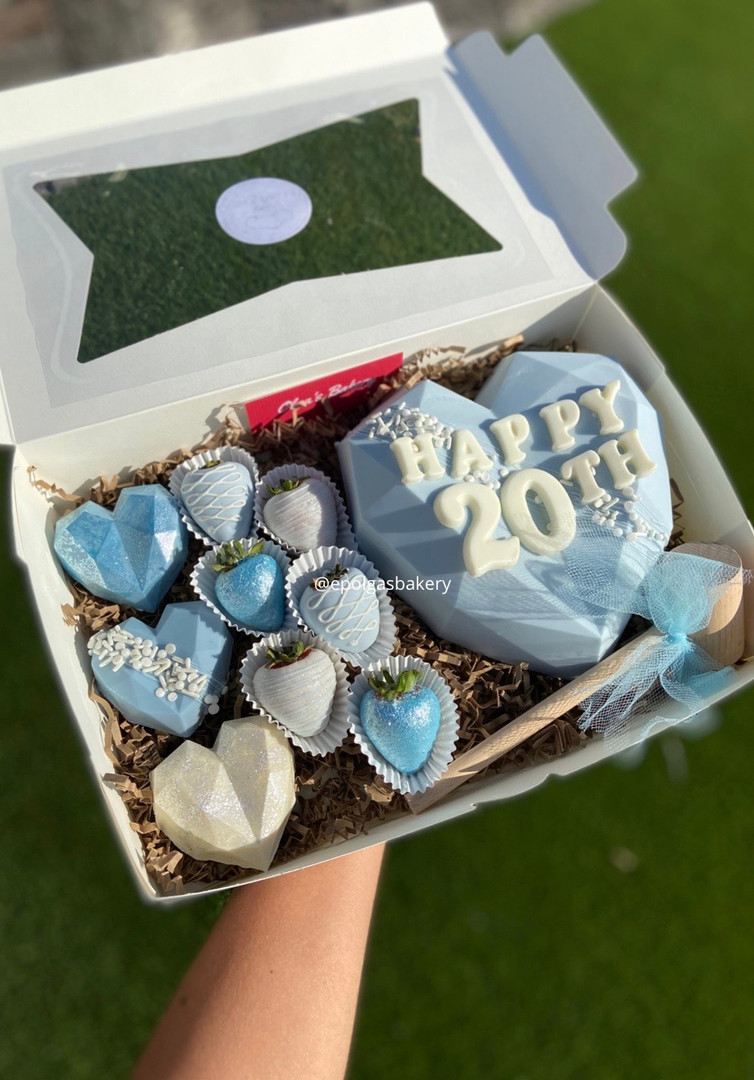 Baby blue and white Heart Box