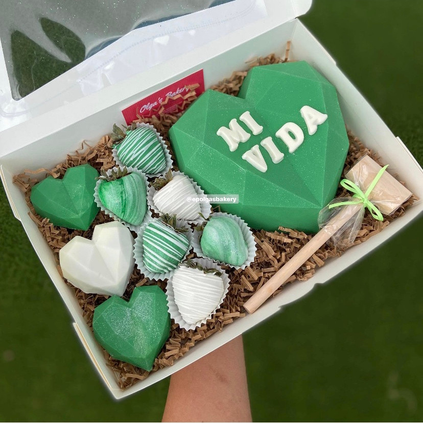 Green and White Heart Box