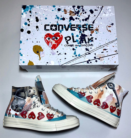 Custom painted Comme Converse size 8 mens