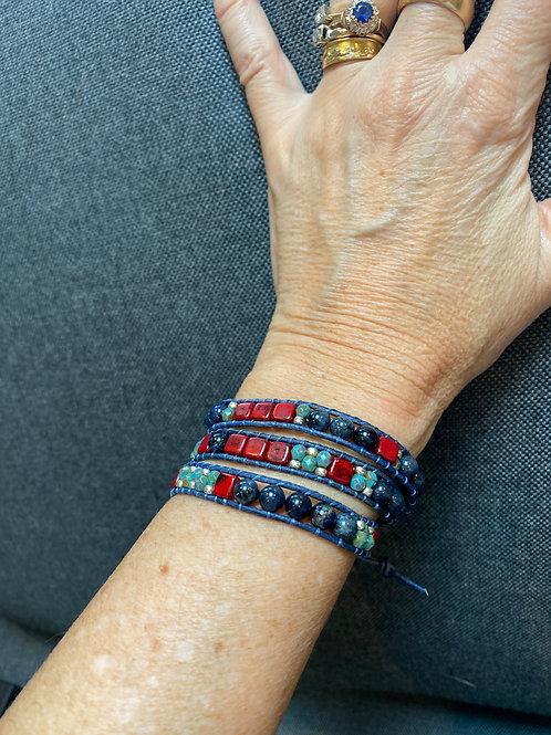 Lapis & Czech glass Triple Wrap Bracelet