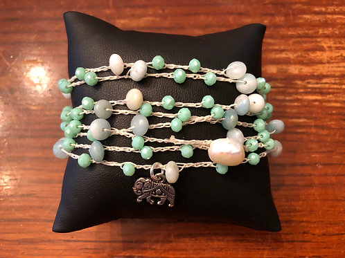 Crochet Amazonite and Chinese Crystal Bracelet/Necklace