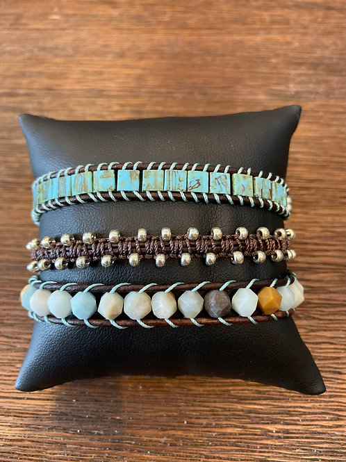 Earthy Triple Wrap Bracelet
