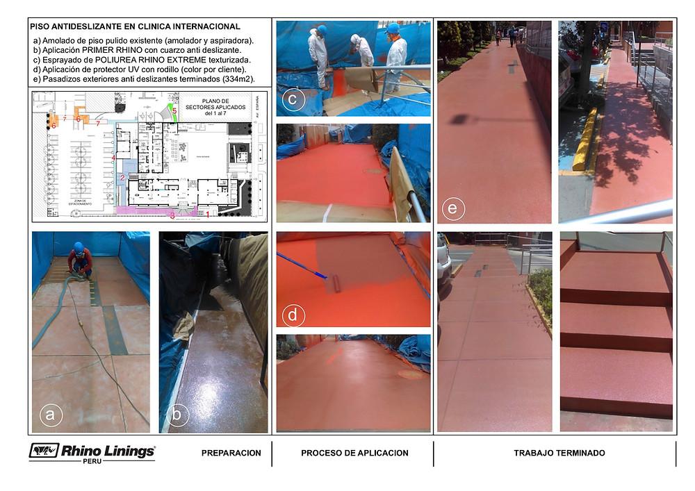 Proceso de aplicación de Rhino en piso exterior para hacerlo anti deslizante