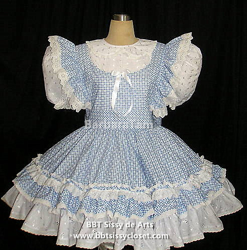 C44 BBT ADULT SISSY GINGHAM FLORA SCHOOL DRESS